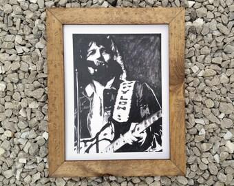 "Waylon Jennings 11×14"" watercolor print"