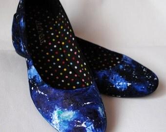Handpainted galaxy ballerinas, custom flats, ballerinas, galaxy flats, handpainted slip ons, women galaxy