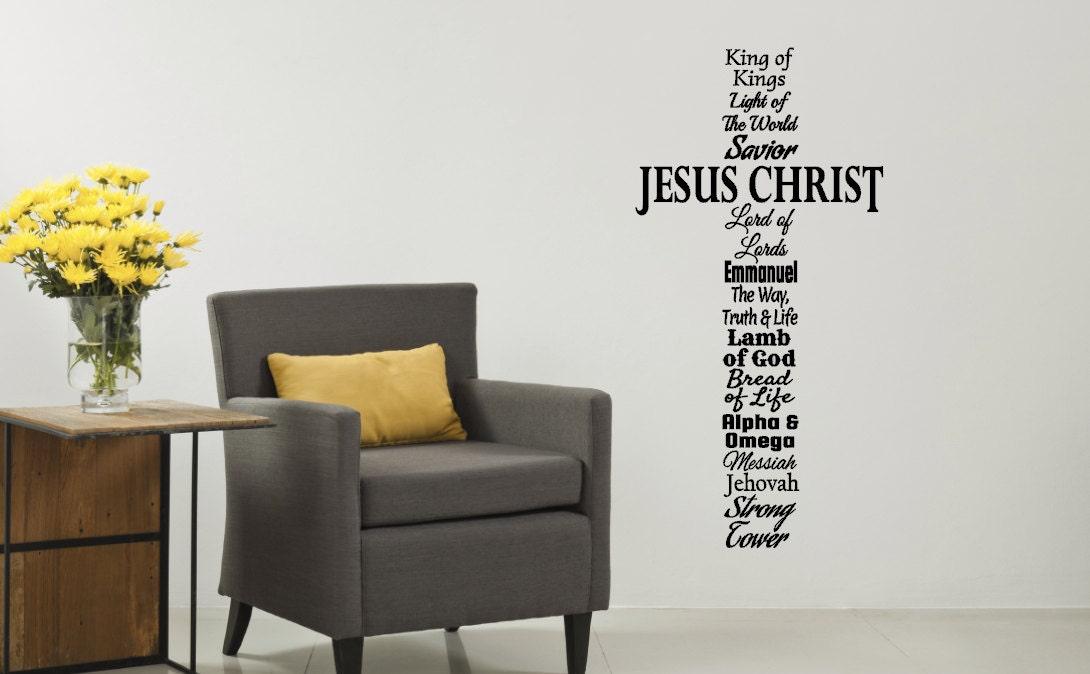 Cross Wall Decal Names Of Jesus Cross Wall Vinyl Cross