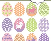 "Easter Eggs clip art, egg, bunny, bunnies, bunny pattern. 12 Easter Clip art 6"" Eggs. Easter Decorative Egg Printables, by MissAngelClipArt"