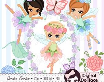 Fairy Clipart, Garden Fairies Clip Art for Fairy Birthday, Printable Graphics, Flower Frames