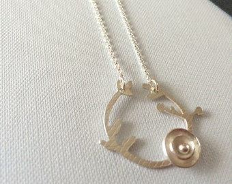 Sterling Silver circle necklace || Rose garland || Hand Cut || Textured || Minimal