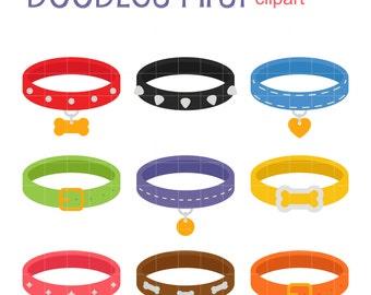 Pet Collar Set Digital Clip Art for Scrapbooking Card Making Cupcake Toppers Paper Crafts