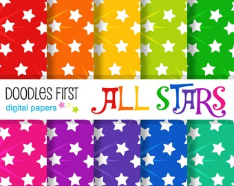 All Stars Seamless Digital Paper Pack Includes 10 for Scrapbooking Paper Crafts
