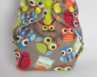 Newborn AIO Cloth Diaper - Argyle Owls - Snap - ready to ship