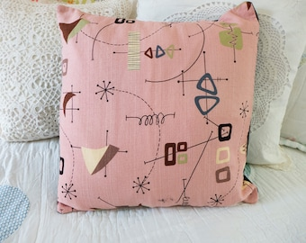 Atomic Age Barkcloth Pillow Case,  Googie Decor, Mid Century Fabric 50s Pink Pillow Cover, Eames Era Sofa Pillow Case