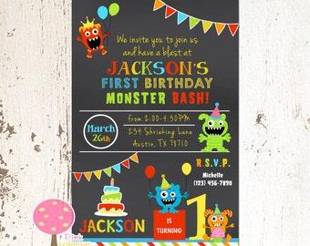 little monster 1st birthday party invitation chalkboard invitation 1st birthday invite monster birthday - Monster Birthday Party Invitations