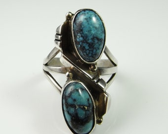 Unique Turquoise Ring Mid Century Ring Modernist Ring Designer Ring Southwestern Ring Native American Ring American Indian Ring Unusual Ring