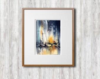 Original Watercolor Painting, Nautical Painting, Sailboats Painting, Watercolour Art