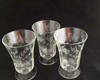 A006 Clear 3 desert etched  glasses