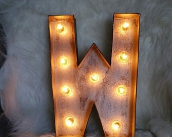 light up letters faux distressed metal look vintage paper mache sign custom sizes available