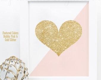Gold Glitter Heart Print - Blush Pink & Gold Glitter Nursery Decor, Girls Room Wall Art, Baby Shower Decor, Dorm Room Makeup Vanity Art Sign
