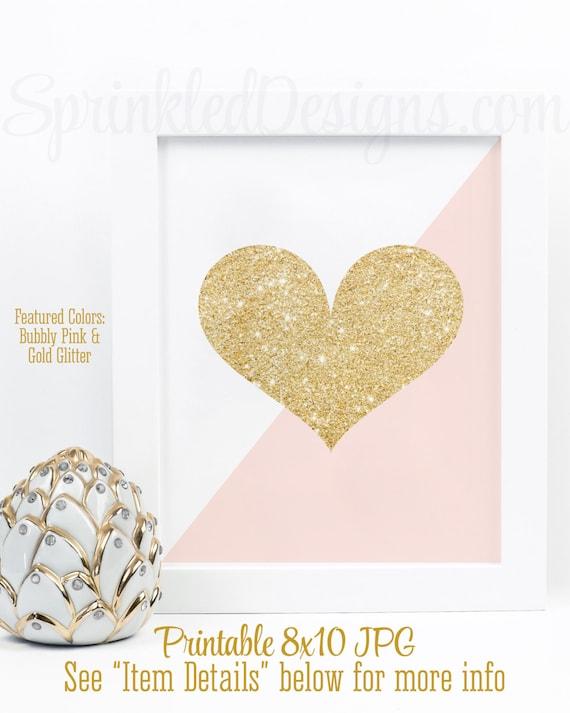 Gold Glitter Heart Print Blush Pink Amp Gold Glitter