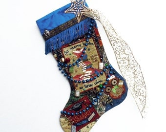 Book lover's Christmas stocking, a custom handmade one-of-a-kind holiday decoration
