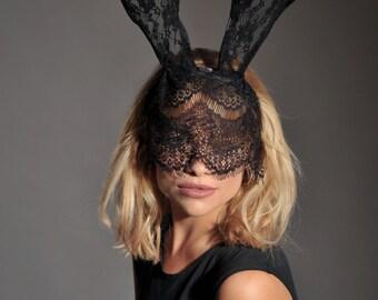 Lace Bunny Ears, Bunny Ears, Lace Ears Headband, Animal Ears Headband, Rabbit Ears Headband, Halloween Headband, Hen Party Headband,