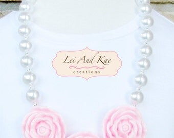 Pink Rose Flowers Chunky Bubble Gum Necklace - Photo Prop Fashion Accessory