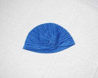 vintage blue bohemian turban hat