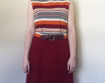 60s Striped Peggy Olson Dress in Fall Autumn Colours with Matching Belt