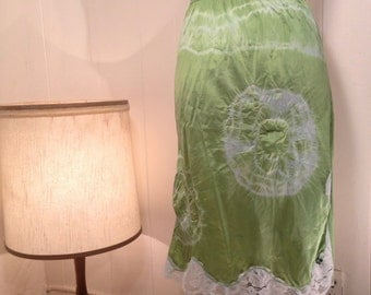 Hand Dyed Lime Vintage Slip Skirt