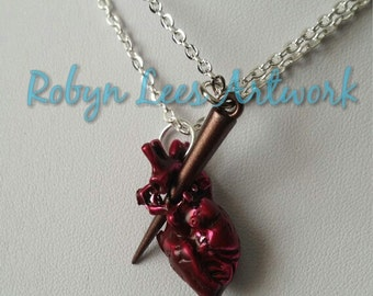 Best Friends or Couples Vampire Slayer Necklaces on Silver Chain with Red Anatomical Heart and Brown Stake