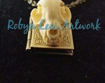 Gold Bronze Book Locket with Resin Cat Kitten Skull Necklace on Bronze Crossed Chain, Animal Anatomy, Gothic Anatomical, Family Memories