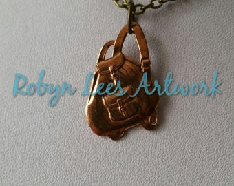 Copper Rucksack Backpack Haversack Necklace on Bronze Crossed Chain, Retro Fashion, Vintage Clothing Bag