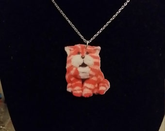 Bagpuss Style Childhood Puppet Cat Printed Acrylic Necklace on Silver or Gold Chain