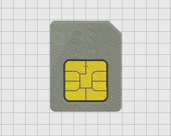 Sim Card Cell Phone Embroidery Design in 1x1 2x2 3x3 and 4x4 Sizes