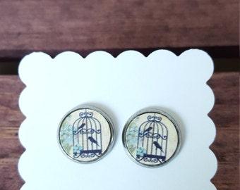 Stud Earrings - Vintage Bird Cage - Stainless Steel - 12mm