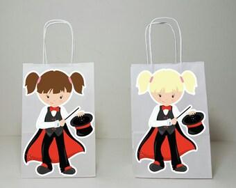Girl Magician Goody Bags, Magician Favor Bags, Magician Gift Bags, Magician Party Bags, Magician Party Favors