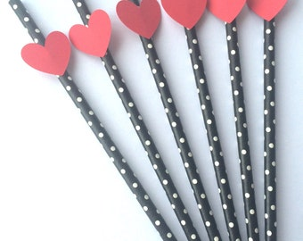 Paper Straws with Hearts