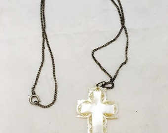 Vintage Mother of Pearl Carved Cross Pendant Necklace