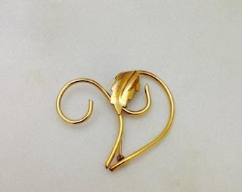 Vintage Signed M&S 12K Gold Filled Foliage Inspired Leaf Brooch