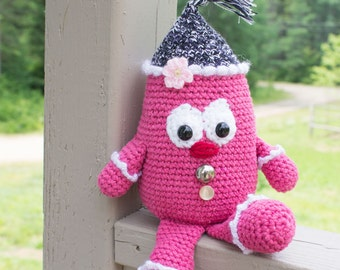 Pink and grey stuffed creature, crocheted plush toy, SOLD