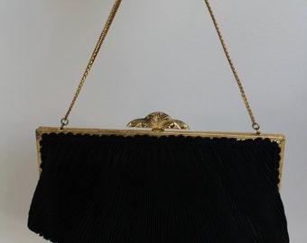 Evening handbag black gold 1950s handbag purse 50s purse pleated handbag evening handbag 1950s black handbag vintage filigree gold purse