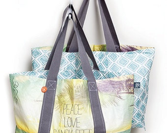 Tote Bag- Sandy Feet - travel, beach, lightweight, recyclable, reversible, tyvek