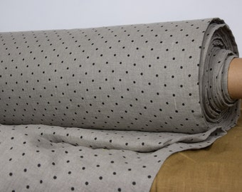 Pure 100% linen fabric. Polka dot black on not dyed flax background. Middle weight, washed-softened. The last piece 2.40mx1.45m=94x57""