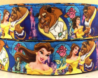 """3 Yards 1"""" Princess Belle-Beauty and the Beast Inspired Grosgrain Ribbon-hair bow Supply-Girls-Supply"""