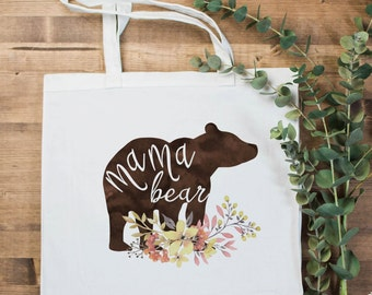 Mama Bear Small Tote Bag | Canvas Tote | Satchel | Mother's Day Gift | Baby Shower | New Mom Gift | Mom Life | Preggers | Pregnancy Reveal