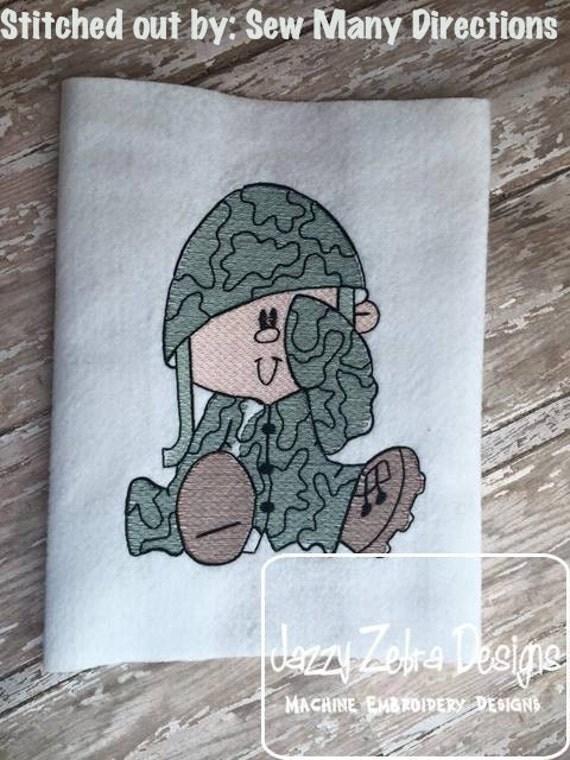 Kid Army Sketch Embroidery Design - boy Sketch Embroidery Design - military Sketch Embroidery Design