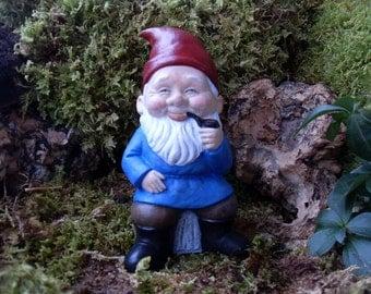 Gnome Statue, Elf Statue, Smoking Garden Gnome Statue,Vintage German Gnome Statue,Gnome Statue,Outdoor Garden Gnome Statue