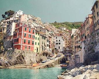 Italy Photograph, Cinque Terre Print, Colorful Italian Houses, Travel Photography, Italian Wall Art Decor, Pastel Colors, Manarola