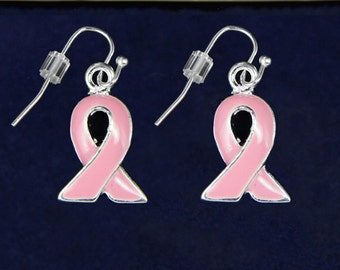 Pink Ribbon Breast Cancer Hanging Earrings (RE-E-10-1)
