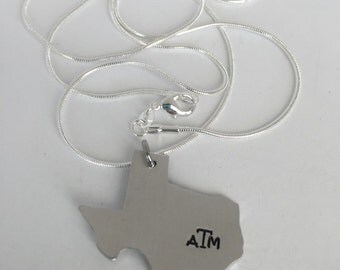 Ready to ship Texas Aggies A&M Hand Stamped Texas State Necklace