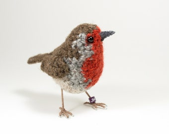 British robin fibre art bird sculpture