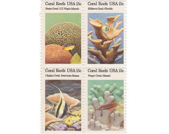 1980 15c Coral Reefs Block of Four - 12 Unused Vintage Postage Stamps - Item No. 1830a