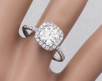 18K White Gold Round Cut Forever One Moissanite and Diamond Engagement Ring Halo Prong 2.15ct