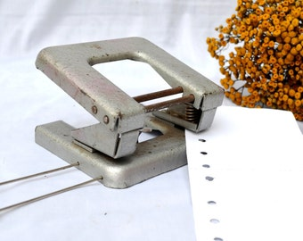 Vintage Paper Hole Puncher, Office Stationery, Massive Desk Accessory,Vintage Office Table, Vintage Stapler, metal puncher, seventies office