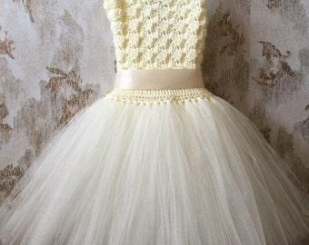 Ivory flower girl tutu dress, birthday tutu dress, crochet tutu dress, corset tutu dress