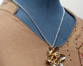 Gold and Silver Scalemaille Flower Necklace